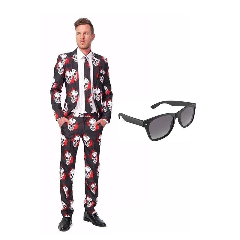 Schedel print heren kostuum maat 48 (M) met gratis zonnebril