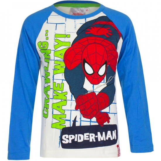 Spiderman t-shirt wit met blauw