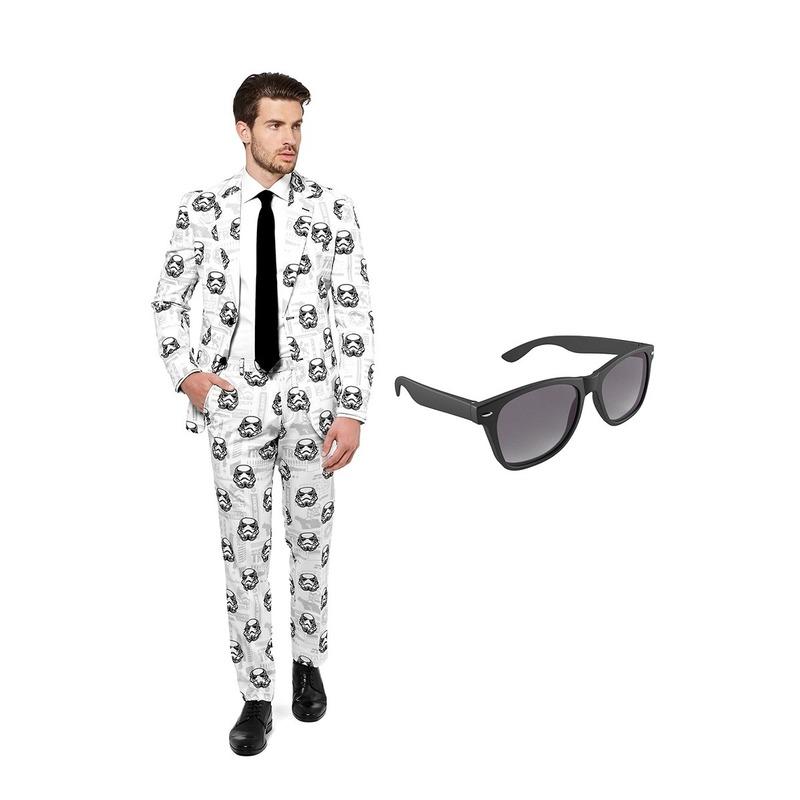 Stormtrooper heren kostuum maat 46 (S) met gratis zonnebril