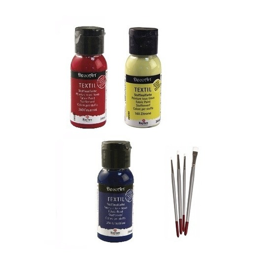 Textielverf pakket primaire kleuren met penselen