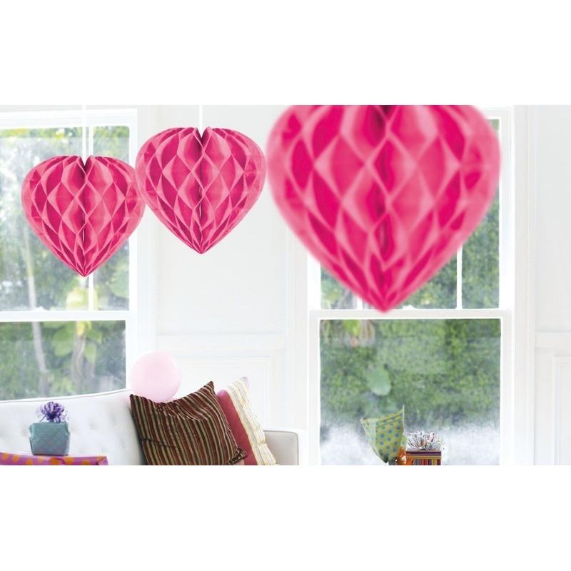Valentijn 10x Hangende hartje deco bollen roze 30 cm