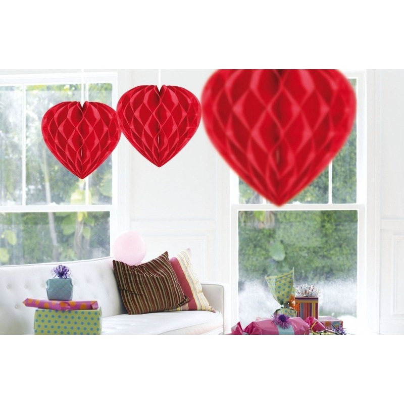 Valentijn 10x Hangende hartjes deco bollen rood 30 cm