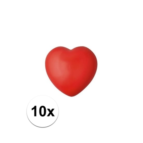 Valentijn - 10x hartje stressbal rood 7 cm