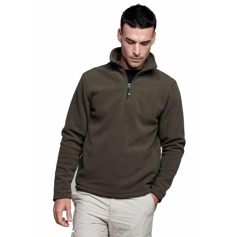 Voordelige fleece sweater met ritskraag voor heren