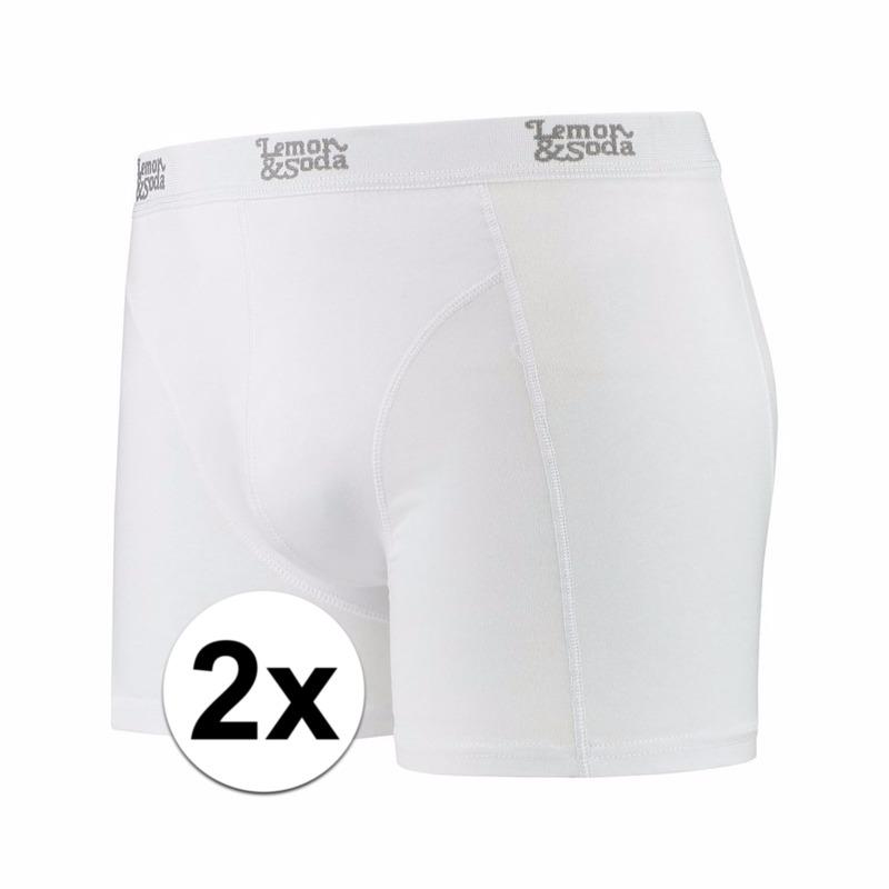 Voordelige witte boxershorts 2-pak Lemon and Soda