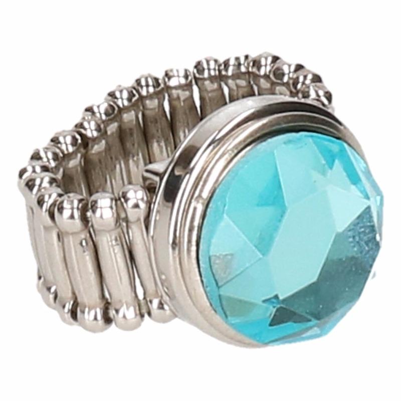 Zilveren prinsessen ring blauwe diamant voor volwassenen