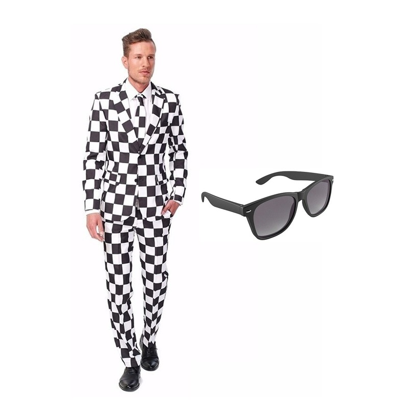 Zwart/wit geblokt heren kostuum maat 48 (M) met gratis zonnebril