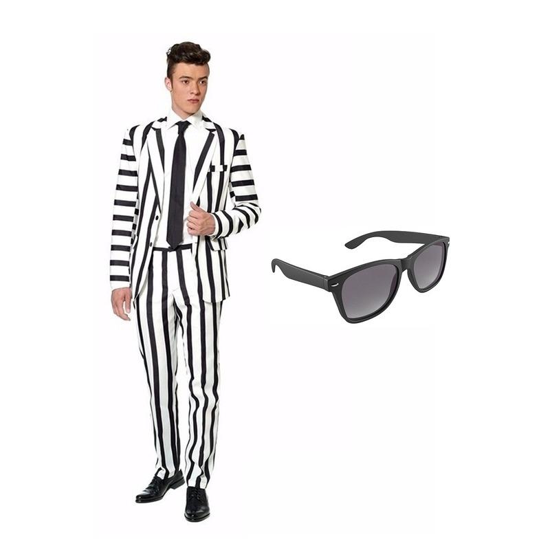 Zwart/wit gestreept kostuum maat 50 (L) met gratis zonnebril